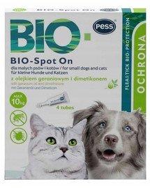 BIO Spot-on krople na kleszcze i pchły dla małych psów i kotów 4x1 g z olejkiem geraniowym i dimetikonem