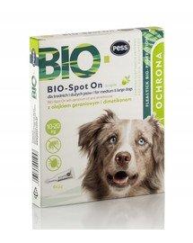 BIO Spot-on krople na kleszcze i pchły dla średnich i dużych psów 4x2 g z olejkiem geraniowym i dimetikonem