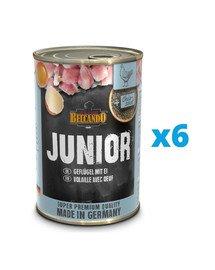 BELCANDO Super Premium Junior Drób, jajka 6x400 g mokra karma dla szczeniąt
