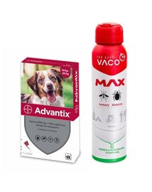 BAYER ADVANTIX Roztwór do nakrapiania dla psów od 10 do 25 kg (1 x 2.5 ml) + VACO VACO Spray MAX na komary, kleszcze, meszki 100 ml