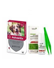 BAYER ADVANTIX Roztwór do nakrapiania dla psów od 10 do 25 kg (1 x 2.5 ml) + VACO ECO Środek do bezpiecznego usuwania kleszczy (2w1) 1 szt.