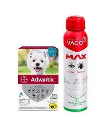 BAYER ADVANTIX Roztwór do nakrapiania dla psów od 4 do 10 kg (4 x 1ml) + VACO VACO Spray MAX na komary, kleszcze, meszki 100 ml