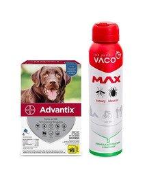 BAYER ADVANTIX Roztwór do nakrapiania dla psów od 25 do 40 kg (4 x 4 ml) + VACO VACO Spray MAX na komary, kleszcze, meszki 100 ml