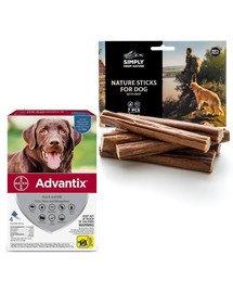 BAYER ADVANTIX Roztwór do nakrapiania dla psów od 25 do 40 kg (4 x 4 ml) + SIMPLY FROM NATURE Naturalne cygara z wołowiną 3 szt.