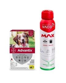 BAYER ADVANTIX Roztwór do nakrapiania dla psów od 10 do 25 kg (4 x 2,5 ml) + VACO VACO Spray MAX na komary, kleszcze, meszki 100 ml