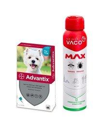 BAYER ADVANTIX Roztwór do nakrapiania dla psów od 4 do 10 kg (1 x 1 ml) + VACO VACO Spray MAX na komary, kleszcze, meszki 100 ml