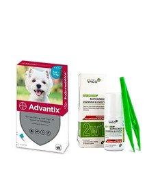 BAYER ADVANTIX Roztwór do nakrapiania dla psów od 4 do 10 kg (1 x 1 ml) + VACO ECO Środek do bezpiecznego usuwania kleszczy (2w1) 1 szt.