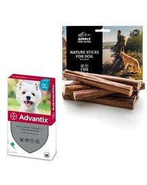 BAYER ADVANTIX Roztwór do nakrapiania dla psów od 4 do 10 kg (1 x 1 ml) + SIMPLY FROM NATURE Naturalne cygara z wołowiną 3 szt.