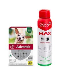 BAYER ADVANTIX Roztwór do nakrapiania dla psów do 4 kg (4 x  0,4 ml) + VACO VACO Spray MAX na komary, kleszcze, meszki 100 ml