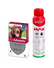 BAYER ADVANTIX Roztwór do nakrapiania dla psów od 25 do 40 kg (1 x 4 ml) + VACO VACO Spray MAX na komary, kleszcze, meszki 100 ml