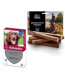 BAYER ADVANTIX Roztwór do nakrapiania dla psów od 25 do 40 kg (1 x 4 ml) + SIMPLY FROM NATURE Naturalne cygara z wołowiną 3 szt.