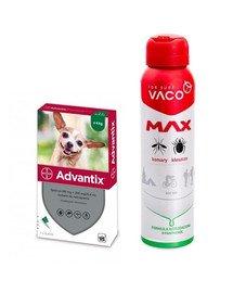 BAYER ADVANTIX Roztwór do nakrapiania dla psów do 4 kg (1 x 0,4 ml) + VACO VACO Spray MAX na komary, kleszcze, meszki 100 ml