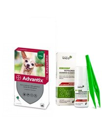 BAYER ADVANTIX Roztwór do nakrapiania dla psów do 4 kg (1 x 0,4 ml) + VACO ECO Środek do bezpiecznego usuwania kleszczy (2w1) 1 szt.