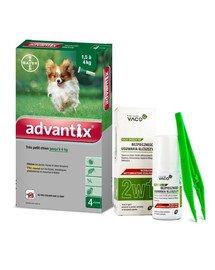 BAYER ADVANTIX Roztwór do nakrapiania dla psów do 4 kg (4 x  0,4 ml) + VACO ECO Środek do bezpiecznego usuwania kleszczy (2w1) 1 szt.
