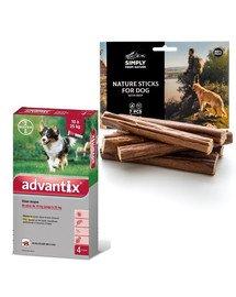BAYER ADVANTIX Roztwór do nakrapiania dla psów od 10 do 25 kg (4 x 2,5 ml) + SIMPLY FROM NATURE Naturalne cygara z wołowiną 3 szt.