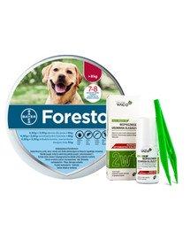 BAYER FORESTO Obroża foresto dla psa przeciw kleszczom i pchłom powyżej 8 kg + VACO ECO Środek do bezpiecznego usuwania kleszczy (2w1) 1 szt.
