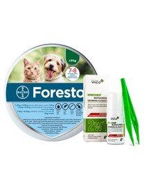 BAYER FORESTO Obroża dla kota i psa przeciw kleszczom i pchłom poniżej 8 kg + VACO ECO Środek do bezpiecznego usuwania kleszczy (2w1) 1 szt.
