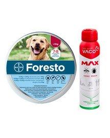 BAYER FORESTO Obroża foresto dla psa przeciw kleszczom i pchłom powyżej 8 kg + VACO VACO Spray MAX na komary, kleszcze, meszki 100 ml