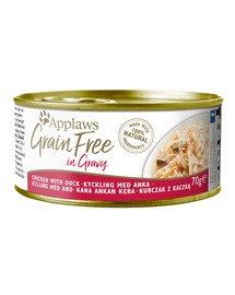 APPLAWS Cat Tin Grain Free mokra karma dla kota kurczak z kaczką w sosie 70 g x 12 (10+2 GRATIS)