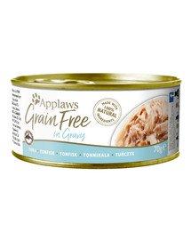 APPLAWS Cat Tin Grain Free mokra karma dla kota tuńczyk w sosie 70 g x 12 (10+2 GRATIS)