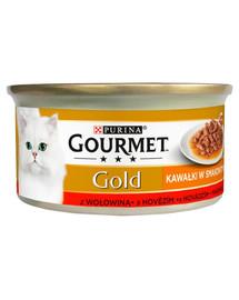 Gold Sauce Delights z wołowiną 24x85 g mokra karma dla kotów