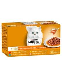 Gold Sauce Delights mix smaków w sosie 4x85g mokra karma dla kotów