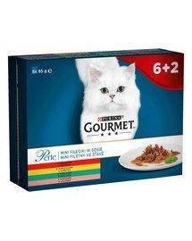 Perle Kolekcja Mini Filecików w sosie (wołowina, kurczak, królik, łosoś) 8x85g mokra karma dla kotów