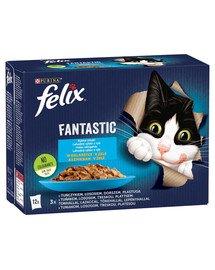 FANTASTIC Rybne Smaki w galaretce (tuńczyk, łosoś, dorsz, gładzica) 12x85g mokra karma dla kota