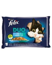 Duo Rybne Smaki w galaretce (dorsz czarny i łosoś, śledź i pstrąg, łosoś i sardynki, pstrąg i makrela) 4x85 g mokra karma dla kota