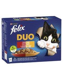 Duo Wiejskie Smaki w galaretce (wołowina i drób, kurczak i cynaderki, jagnięcina i cielęcina, indyk i wątróbka) 12x85 g mokra karma dla kota