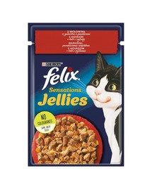 Sensations Jellies Wołowina w galaretce z pomidorami 26x85g mokra karma dla kota
