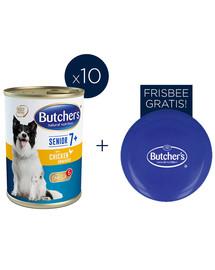 BUTCHER'S Blue+ Senior kurczak/szynka/ryż pasztet 10x390g + frisbee GRATIS
