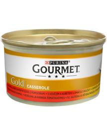 Gold Casserole z wołowiną i kurczakiem w sosie 24x85g mokra karma dla kotów