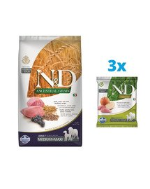 FARMINA N&D Ancestral grain dog adult Medium&Maxi lamb, spelt, oats, blue 2,5 kg + karma sucha 3x100g GRATIS