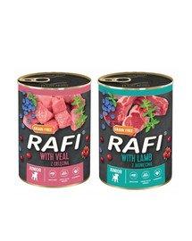 DOLINA NOTECI RAFI Junior mix smaków (cielęcina, jagnięcina) 36x400g mokra karma dla szczeniąt