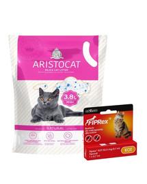 ARISTOCAT Żwirek silikonowy PREMIUM dla kotów 8x3.8 l bezzapachowy + VET-AGRO FIPREX SPOT ON kot 1 szt.