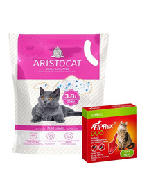 ARISTOCAT Żwirek silikonowy PREMIUM dla kotów 8x3.8 l bezzapachowy + VET-AGRO Fiprex Duo Preparat na kleszcze i pchły dla kotów i fretek