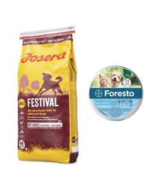 JOSERA Dog Festival dla wybrednych psów 15 kg + BAYER FORESTO Obroża dla kota i psa przeciw kleszczom i pchłom poniżej 8 kg