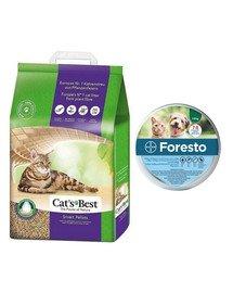 JRS Cat'S Best Smart Pellets 10 l (6 kg) + BAYER FORESTO Obroża dla kota i psa przeciw kleszczom i pchłom poniżej 8 kg