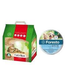 JRS Cat's Best Original eko plus 5 l (2,1 kg) + BAYER FORESTO Obroża dla kota i psa przeciw kleszczom i pchłom poniżej 8 kg