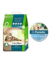 JRS Cat's Best Sensitive 20l żwirek drewniany dla kota + BAYER FORESTO Obroża dla kota i psa przeciw kleszczom i pchłom poniżej 8 kg