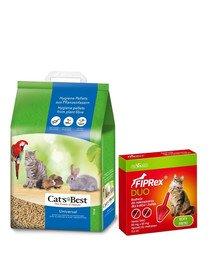 JRS Cat'S Best Universal 20 l (11 kg) + VET-AGRO Fiprex Duo Preparat na kleszcze i pchły dla kotów i fretek