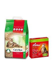 JRS Cat'S best eco plus 7l (3 kg) + VET-AGRO Fiprex Duo Preparat na kleszcze i pchły dla kotów i fretek