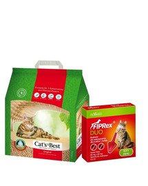 JRS Cat's Best Original eko plus 5 l (2,1 kg) + VET-AGRO Fiprex Duo Preparat na kleszcze i pchły dla kotów i fretek
