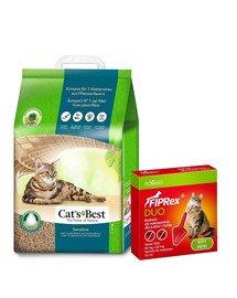 JRS Cat's Best Sensitive 20l żwirek drewniany dla kota + VET-AGRO Fiprex Duo Preparat na kleszcze i pchły dla kotów i fretek