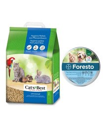 JRS Cat'S Best Universal 20 l (11 kg) + BAYER FORESTO Obroża dla kota i psa przeciw kleszczom i pchłom poniżej 8 kg