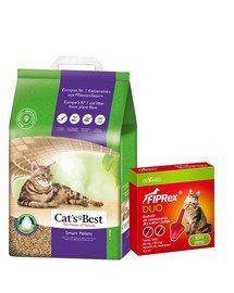 JRS Cat's Best Smart Pellets 5l żwirek zbrylający dla kota + VET-AGRO Fiprex Duo Preparat na kleszcze i pchły dla kotów i fretek