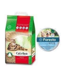 JRS Cat'S best eco plus 7l (3 kg) + BAYER FORESTO Obroża dla kota i psa przeciw kleszczom i pchłom poniżej 8 kg