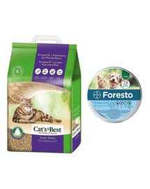 JRS Cat'S Best Smart Pellets 20 l + BAYER FORESTO Obroża dla kota i psa przeciw kleszczom i pchłom poniżej 8 kg