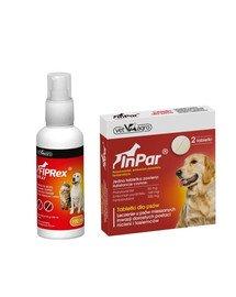 VET-AGRO Fiprex spray 100 ml + InPar Tabletki na odrobaczanie psa pasożyty wewnętrzne 2 tab.